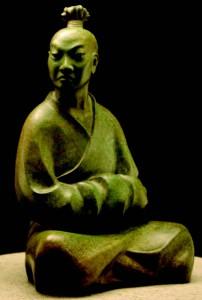 2009-Autumn-Oregon-Artist-Shelley-Curtiss-sculptor-sitting-Asian-man-clay-art-figures