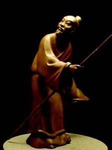 2009-Autumn-Oregon-Artist-Shelley-Curtiss-sculptor-standing-Asian-man-clay-art-figures
