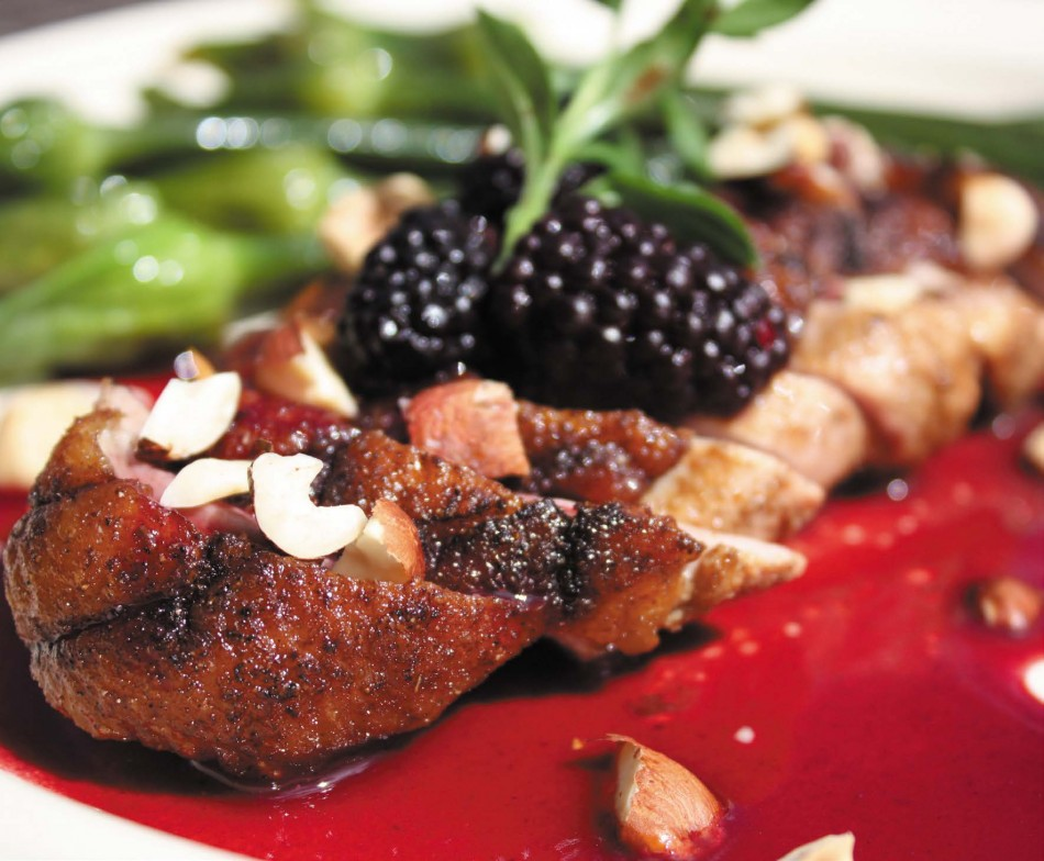 2009-Summer-Oregon-Recipes-from-Home-Grown-Chef-Lisa-Glickman-Roasted-Duck-in-a-Hazelnut-Marionberry-Pond