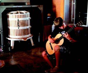2010-Autumn-Oregon-Travel-Wine-Willamette-Valley-Ribbon-Ridge-Styring-Vineyards-Collin-Styring-plays-guitar