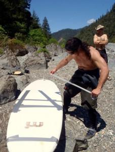 2010-Summer-Southern-Oregon-Rogue-River-Jayson-Bowerman-taping-his-stand-up-paddle-board