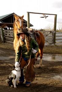 2011-Spring-Eastern-Oregon-Wallowas-McClaran-Ranch-Jill-McClaran-with-horse-and-dog