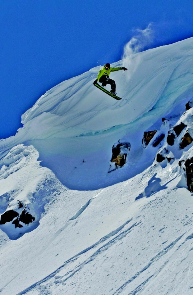 2011-Winter-Central-Oregon-Travel-Outdoors-Winter-Sports-Mt-Bachelor-snowboarder-off-snow-cornice