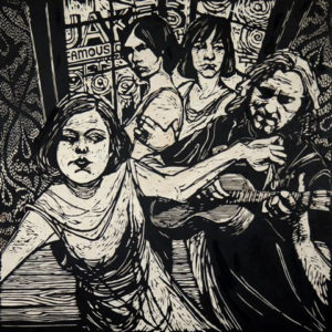 2012-Oregon-Artist-Portland-McMenamins-Crystal-Hotel-woodcut-of-indie-girl-band-Sleater-Kinney-by-muralist-Myrna-Yoder-art