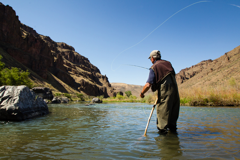 2013-July-August-Oregon-Fish-Oregon-Rivers-Tyler-Roemer-Fly-Fishing-Behind-View-Fishing-Standing-in-River