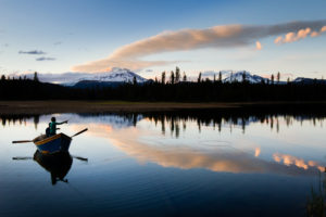 2013-July-August-Oregon-Fish-Oregon-Rivers-Tyler-Roemer-Fly-Fishing-From-Boat-Mountain-Reflection