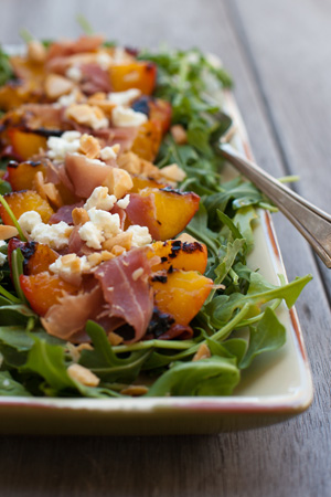 Peach, Goat Cheese, Honey, Arugula Salad