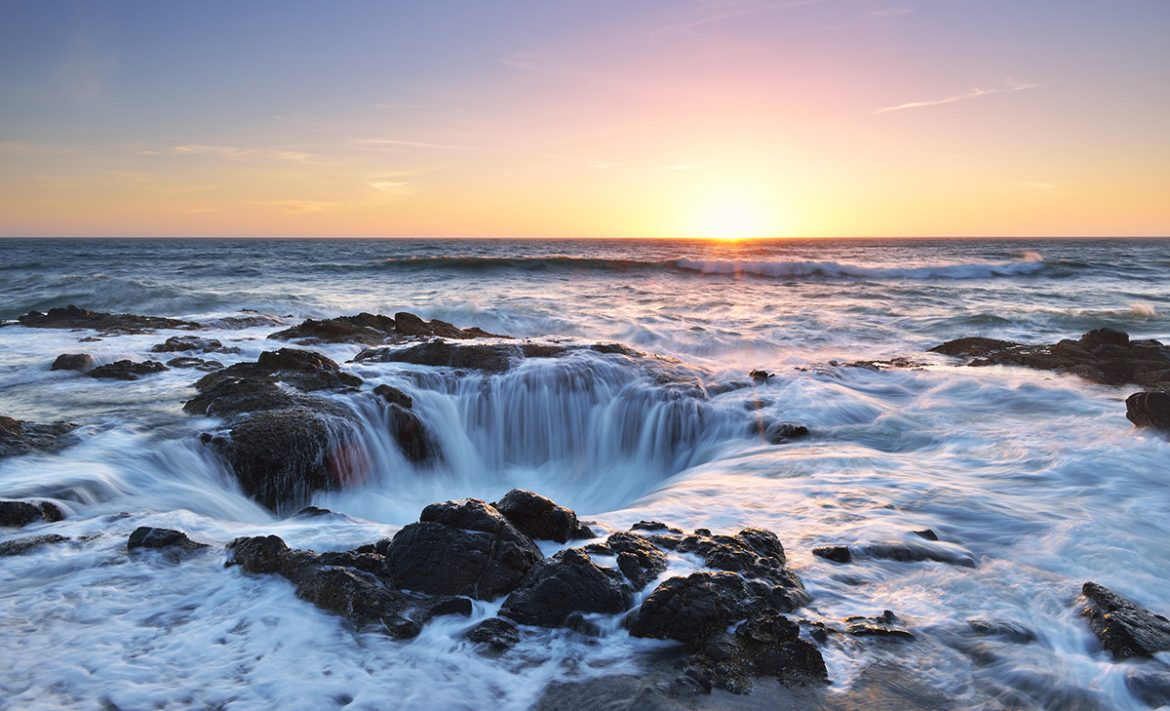 Thor's Well Sunset, Cape Perpetua, Oregon