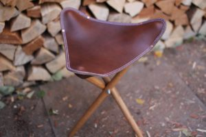 At Hand Leather Tri-Leg Stool