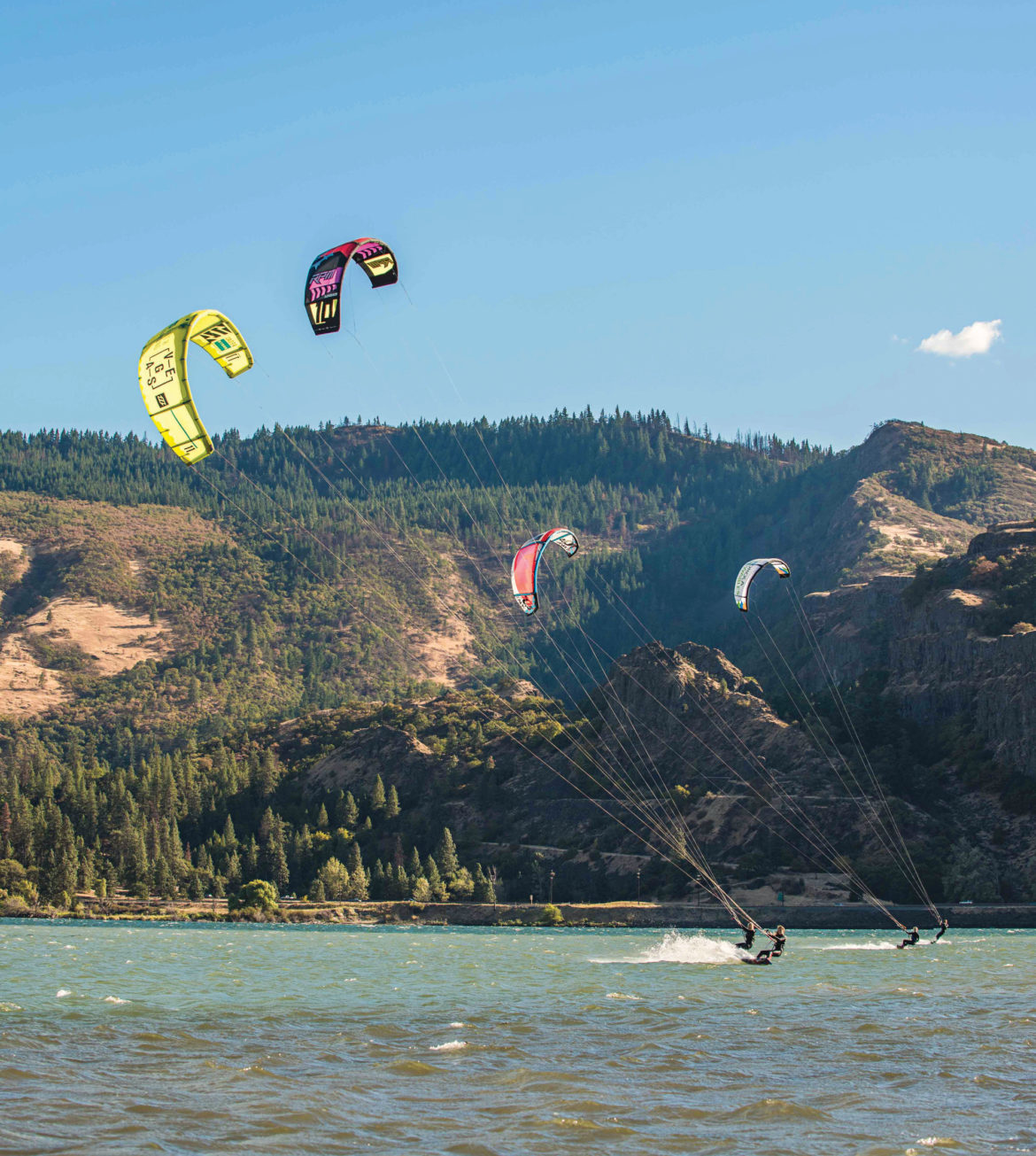 Kiteboarders harness the wind of the Columbia River Gorge, where wing foiling is helping beginners.