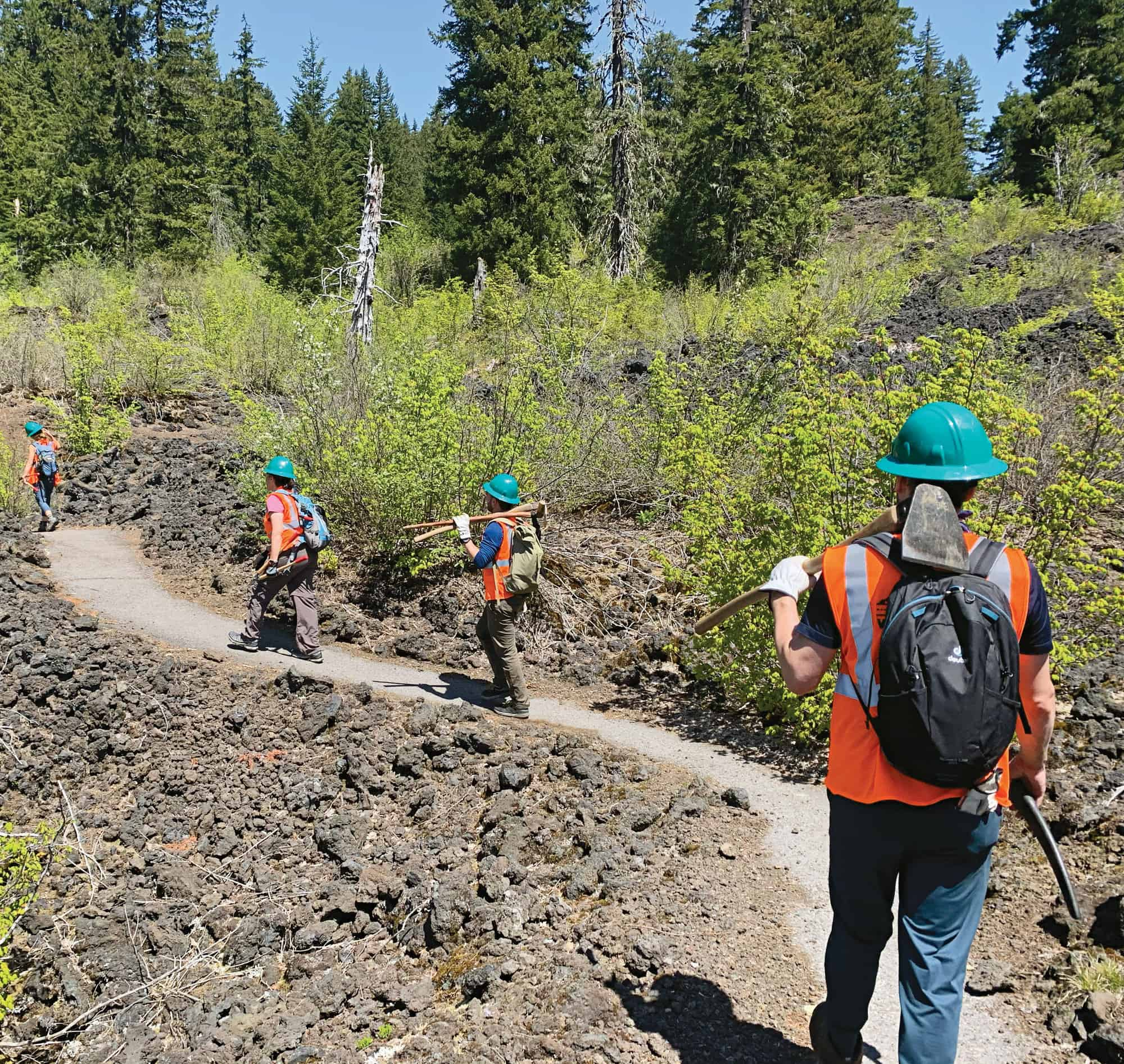 Doing trail work with the McKenzie Regenerative Travel Project offers good hiking while restoring public lands.