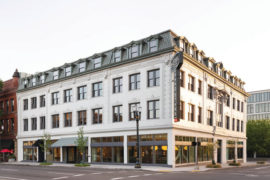 Hotel Grand Stark's exterior reveals the building's heritage from 1906, as the Hotel Chamberlin.