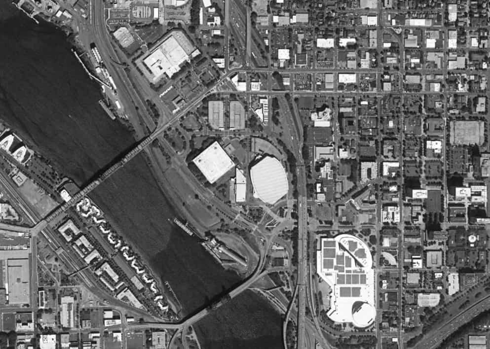 A 2016 aerial of the Rose Quarter.