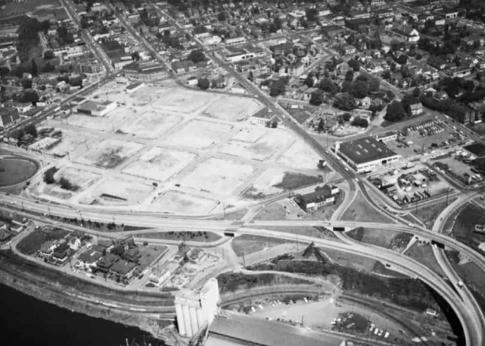 In 1958, a site is cleared for Memorial Coliseum.