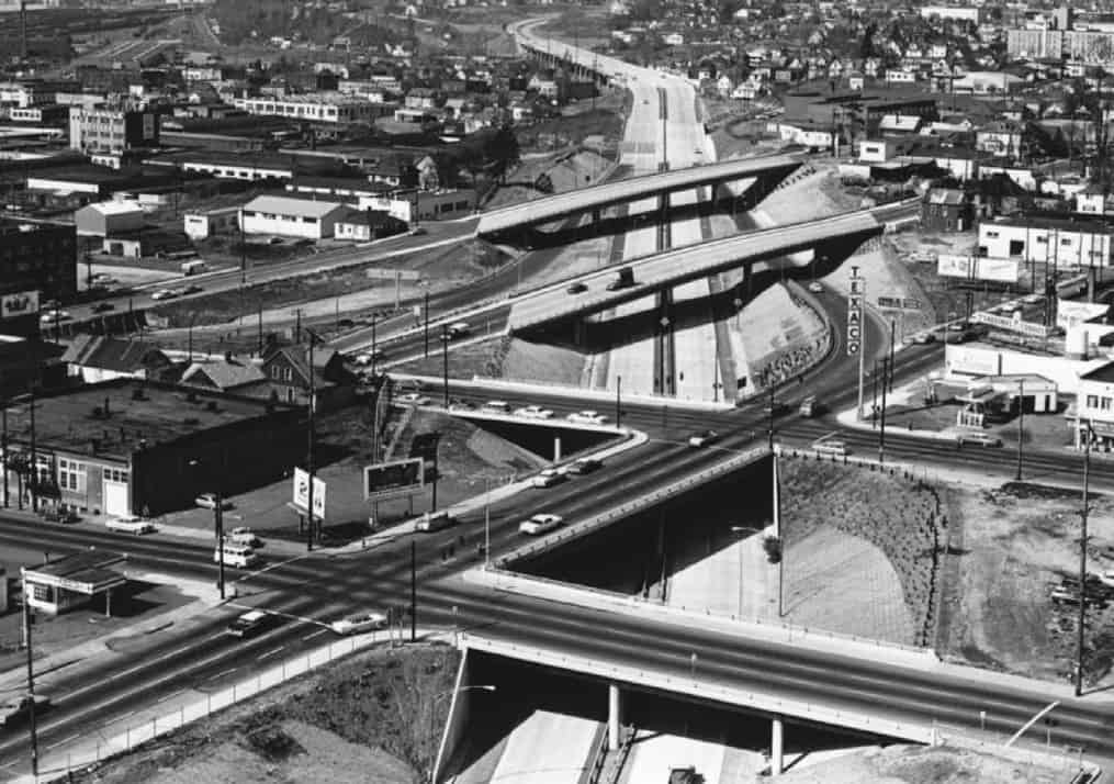 1964 brought freeway construction.