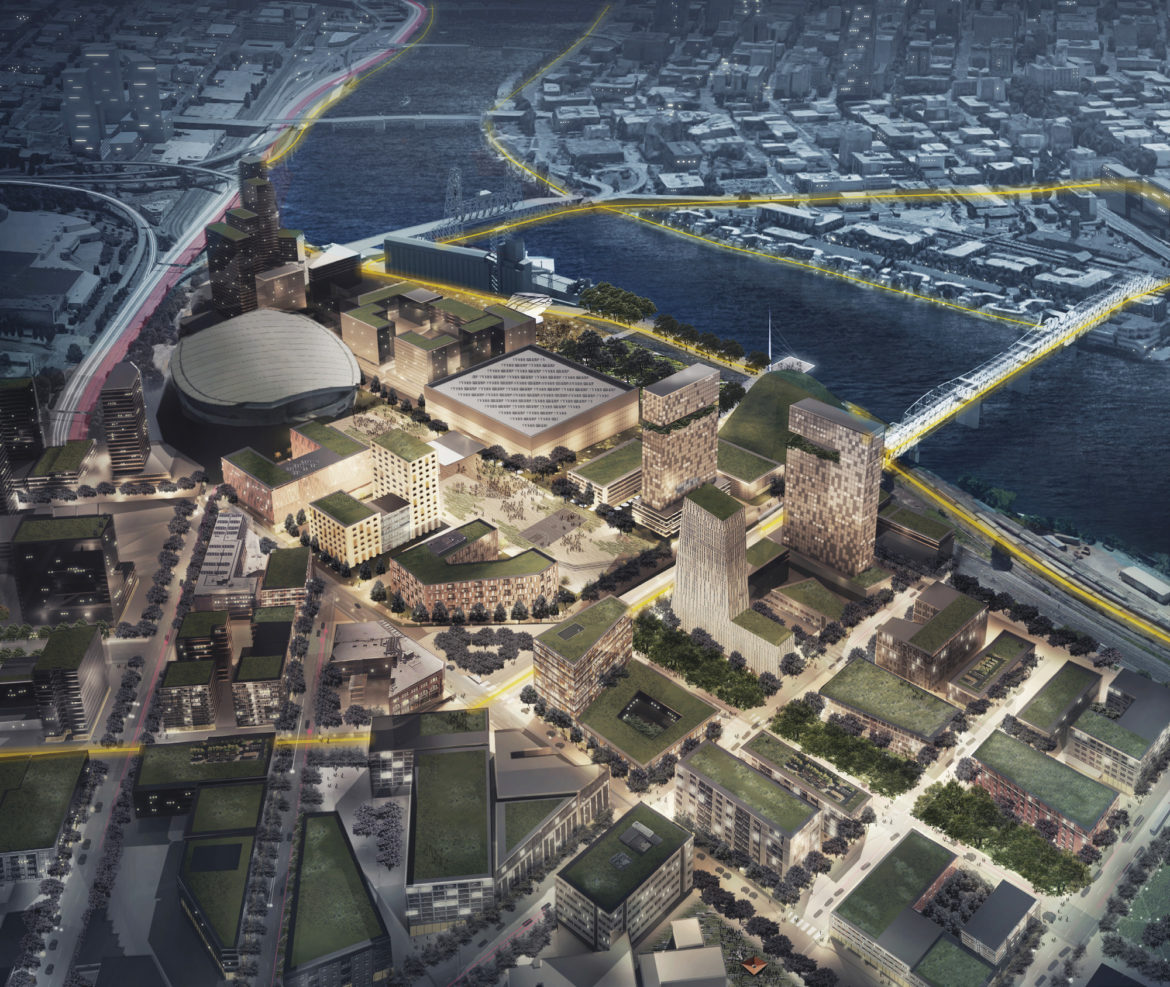 Parks and gardens proposed for the riverbank.