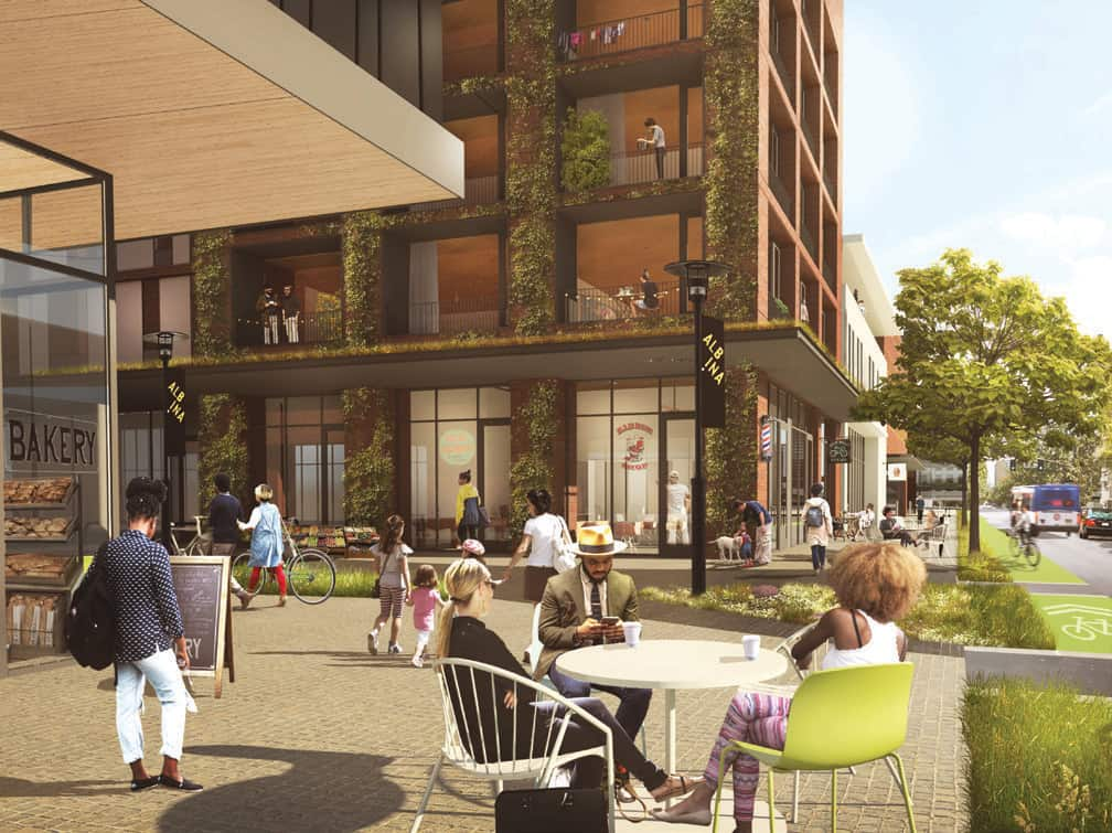 A rendering depicts a Black-owned ecosystem connecting the Willamette River to neighboring homes.